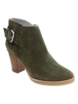 Buckle ankle booties - dark olive