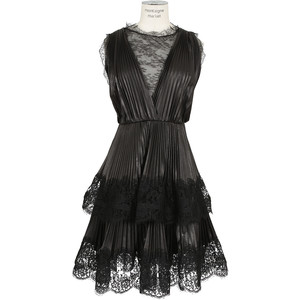 Valentino black leather and lace dress