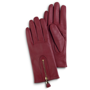 burgundy gloves