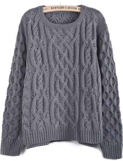 grey sweater cable knit dipped hem