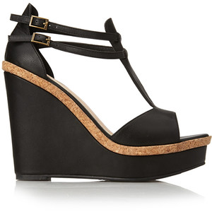 cheap wedge sandal foever black