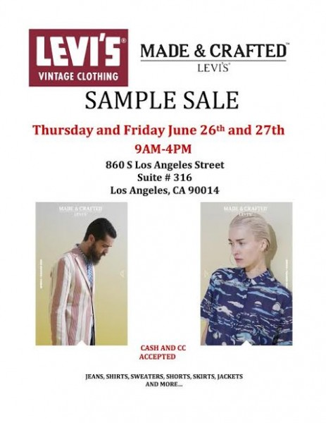 sample salelevis sample sale
